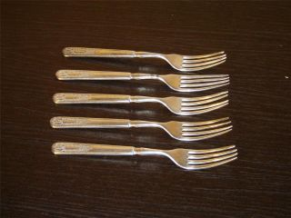 5 Piece Set Of 1847 Rogers Old Colony (1911) Indented Solid Handled Forks Guc photo