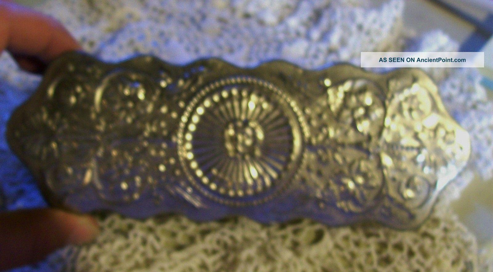 Antique Vanity Brush Silver Victorian Era Fancy Sunshine Polisher Dresser Ornate Brushes & Grooming Sets photo