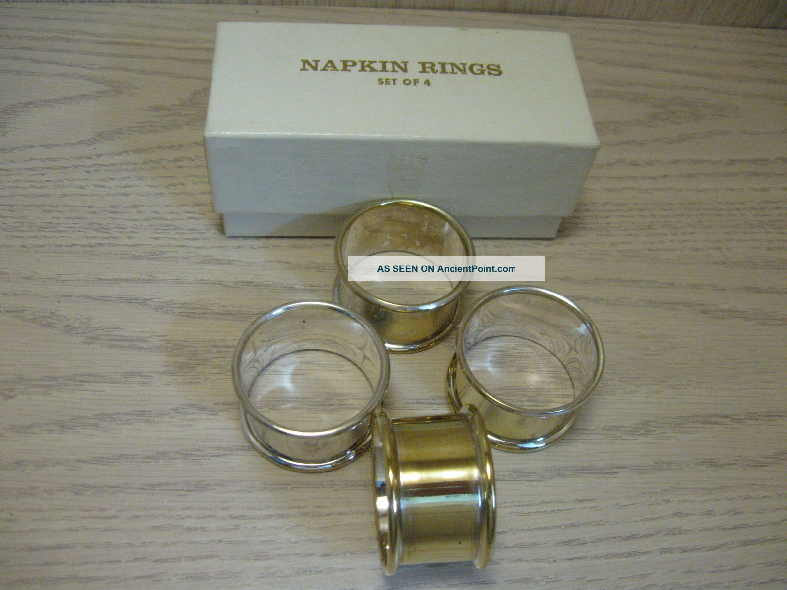 Silver Plate Napkin Rings F B Rogers Qty 4 Napkin Rings & Clips photo