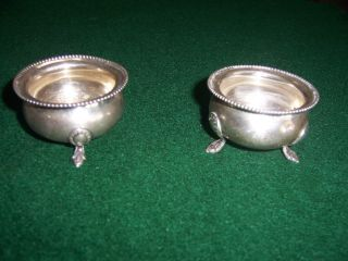 Pair Of Sterling Salt Cellars 2 1/4