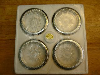 Set (4) Vintage Leonard Silverplate And Crystal Coasters - Italy photo