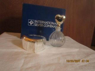 Nib International Silver Co.  Silverplate Heart Box And Perfume Bottle photo
