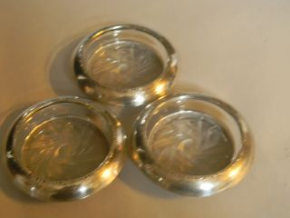 Antique Amston Sterling Silver & Glass 3 Bottle Coasters photo