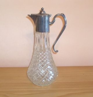 Vintage Hobnail Glass And Silver Plate Claret Jug. photo