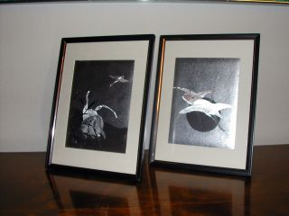 Pair Of Asian Paintings On Silver Foil - Signed By Artist photo