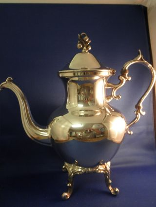 Vintage English Silver Over Copper Coffee Teapot Creamer Sugar Set Complete photo
