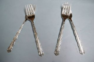 4 Bellfontaine Salad Forks - So Ornate 1973 Rogers - - Clean & Table Ready photo