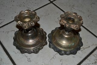 Sheridan Silverplate Candlestick Pair W/floral Detailing Stamped Sheridan Silver photo