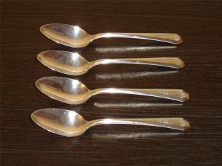 Set Of 4 Wm.  Rogers & Son La France (1920) Silverplate Monogram Teaspoons Vgu photo