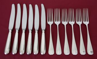 Antique Art Krupp Berndorf Silver Plated.  6 Knives 6 Forks 1930 ' S - 40 W/initials photo