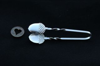 Raimond Sterling Silver Sugar Cube Tongs Twist Handle Acorn End Finials Vintage photo