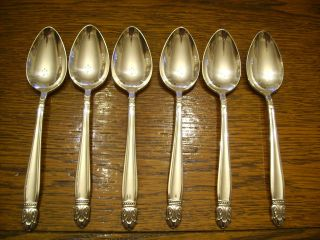 6 Holmes & Edwards 1938 Danish Princess Place Spoons Is Silverplate photo