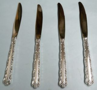 4 Bellfontaine Dinner Knives - So Ornate 1973 Rogers - - Clean & Table Ready photo