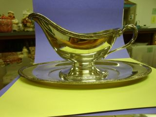 Oneida Silverplate Gravy Boat With Underplate - Ashby Pattern photo