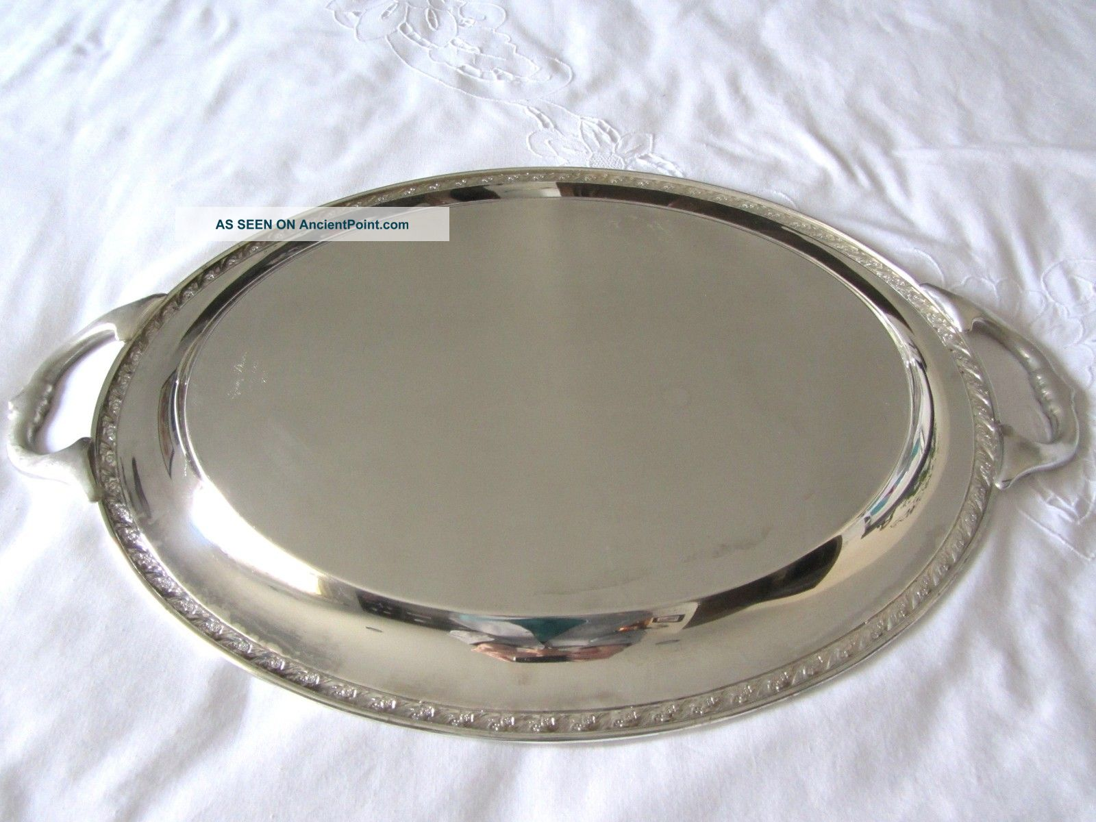 Wm rogers son large silverplate serving tray spring flower 2080 mightylinksfo