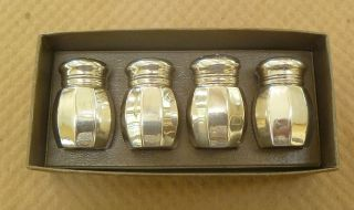 Set Of 4 Sterling Silver Salt & Pepper Shakers Protective Liners Empire Unused photo