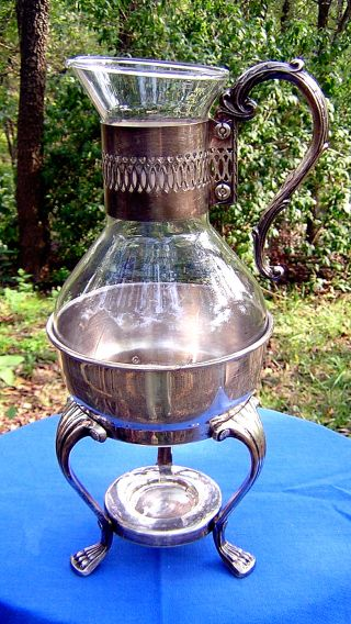 Antique Silverplate F.  B.  Rogers Candle Warmer Stand With Glass Pitcher photo