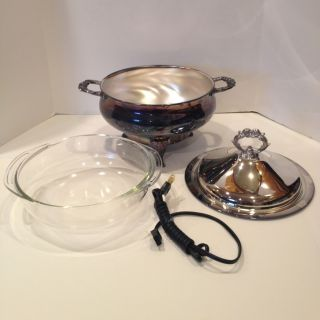 Elegant Silver Plated Leonard Silver Mfg.  Electric Pyrex Casserole Warmer Unised photo