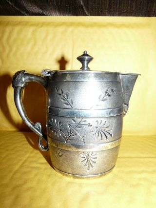 Vintage Roger ' S Smith & Co.  Silverplate Lidded Pitcher W/ Man ' S Face On Handle photo