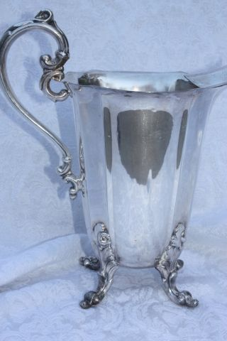 Antique Silver Plate Tall Ornate Handle & Feet Ice Water Pitcher Epns Howard photo