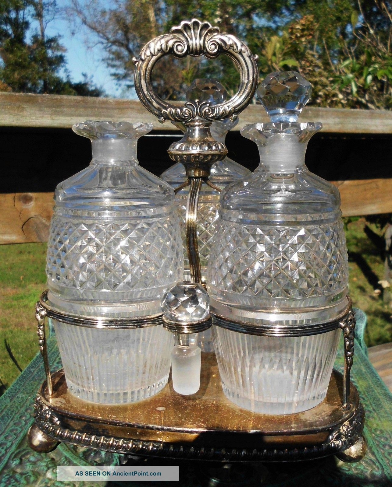 Vintage Decanters Tantalus W/ Silver Plated Holder Stand Bottles, Decanters & Flasks photo