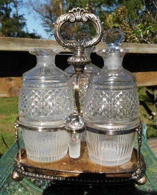 Vintage Decanters Tantalus W/ Silver Plated Holder Stand photo