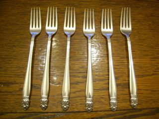 6 Holmes & Edwards 1938 Danish Princess Grill Forks Is Silverplate photo
