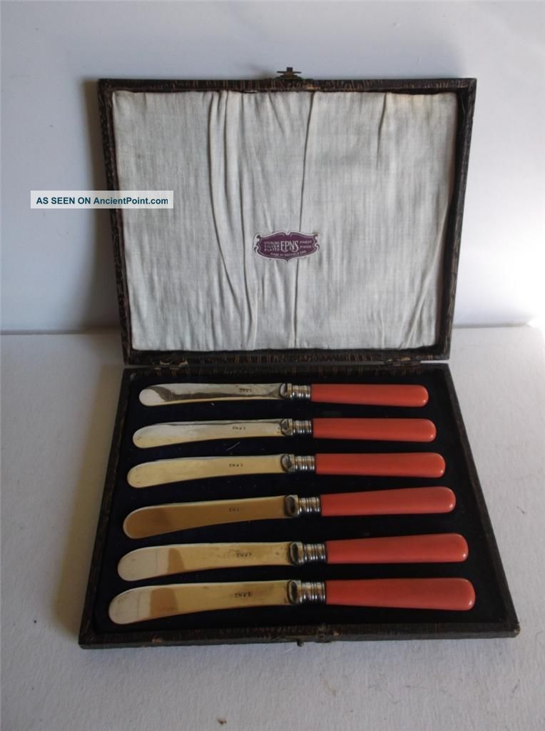 6 Art Deco 1930s Shocking Pink Handled E.  P.  N.  S Butter Knives Boxed Other photo