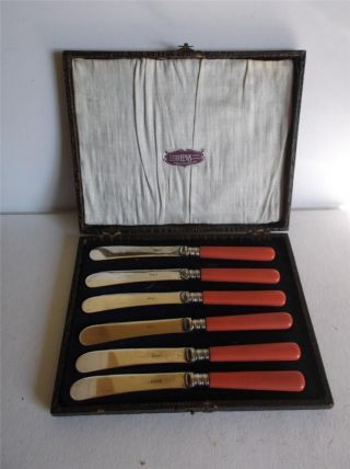 6 Art Deco 1930s Shocking Pink Handled E.  P.  N.  S Butter Knives Boxed photo