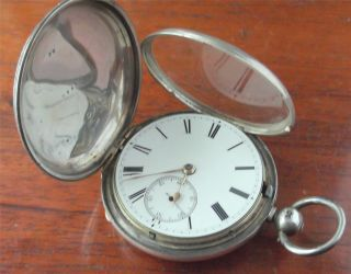Antique Silver Cased Full Hunter Pocket Watch London 1883 Philip Woodman & Sons photo