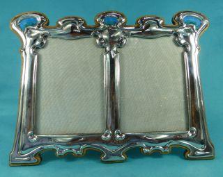 Rare Sterling Silver Enamel Art Nouveau Double Picture Frame William Hutton 1903 photo