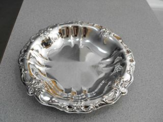International Silver Co Silver Plate Bowl With Floral Decor photo