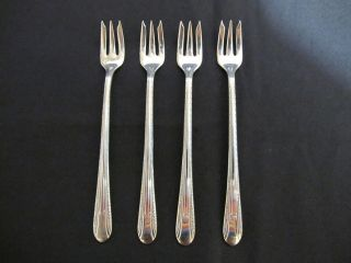 Wm Rogers Regent 4 Cocktail Seafood Forks Beveled Tines 5 1/2