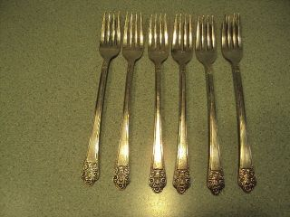 6 Rogers International Silver Plate Grill Forks Precious photo
