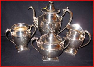 Vintage Pairpoint Quadruple Plate Tea Set photo