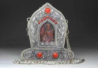 Chinese Old Miao Silver Handwork Inlay Coral Buddha Blessing Box Decoration photo