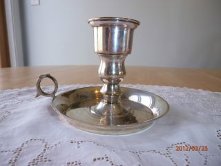Antique Vtg Leonard Silverplate Chamber Stick Finger Ring Candle Holder India photo