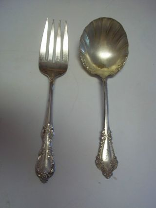 Antique Serving Spoon Fork Silver Plate Wm Rogers 8.  5