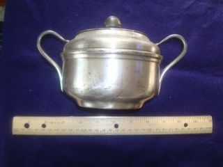 Very Heavy Wwii Usn Navy Wardroom Silverplate Silver Plate Sugar Bowl With Lid photo