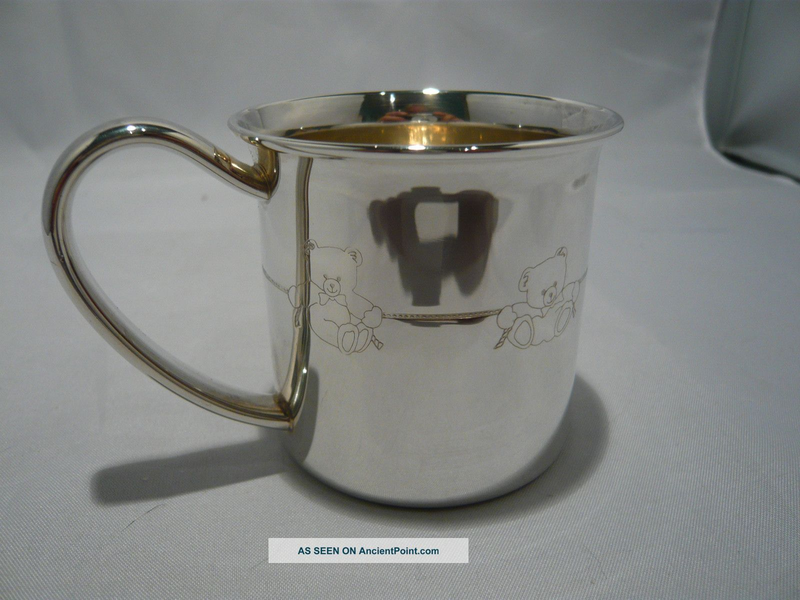 A Sweet Lunt Sterling Silver Childs Cup Engraved With Teddy Bears Around The Cup Cups & Goblets photo
