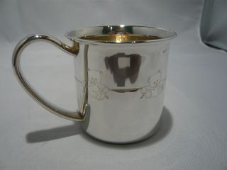 A Sweet Lunt Sterling Silver Childs Cup Engraved With Teddy Bears Around The Cup photo