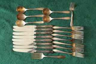 24pc National Silver Co King Edward Silver Plate Flatware W/ Server & Baby Fork photo