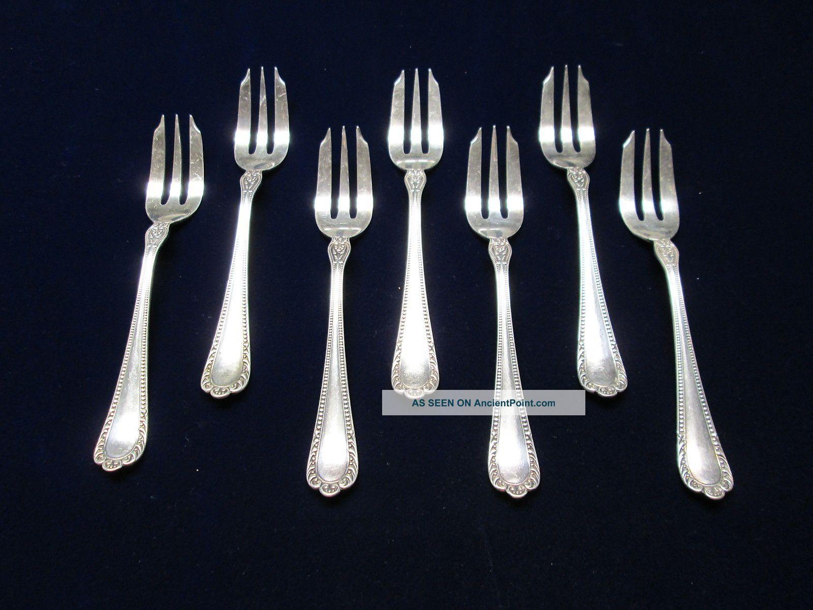 Antique Gorham Silver 7 Fish Forks Winthrop 1896 Beaded Elegance Other photo