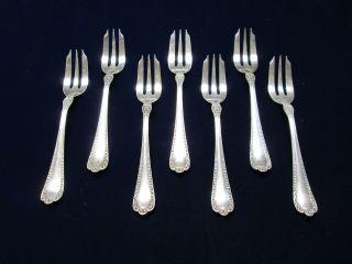 Antique Gorham Silver 7 Fish Forks Winthrop 1896 Beaded Elegance photo
