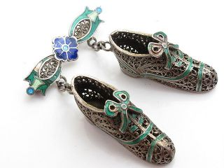 Vintage Sterling Silver Gilt Filigree Portuguese Enamel Shoes Dangling Brooch photo