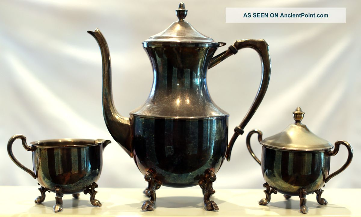 5th Avenue Silver Plated Tea Set - 3 - Piece Tea/Coffee Pots & Sets photo