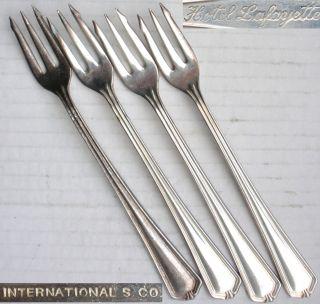 4 Vintage Cake Forks.  International S Co (rogers Bros).  Hotel Lafayette,  America photo