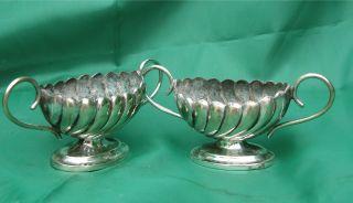 A Little Pair Of Victorian Plated Salt Cellars photo