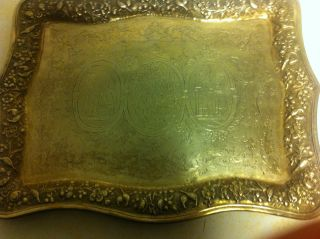 Rare Antique Sterling Silver Ornate Platter photo