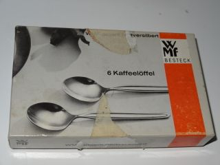 Silver Plated Set Of 6 Coffee Spoons By Wmf Of Germany Boxed photo